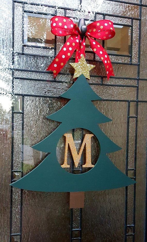 Christmas Tree Monogram Door Hanger,Christmas Tree Initial Wreath,Front Door Initial,Winter Wreath Alternative,Door Monogram,Gold Tree