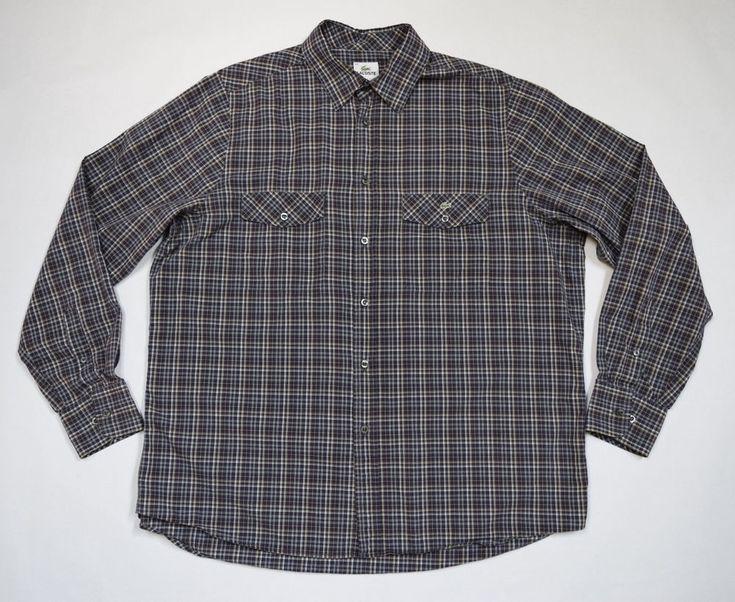 Lacoste Men's Plaid Shirt Multi-Color Button Down Long Sleeve Size 45 #Lacoste #ButtonFront