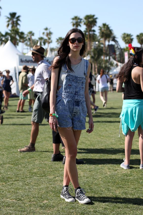 Wearing Denim Dungarees at Coachella - Festival Style...obsession with overalls