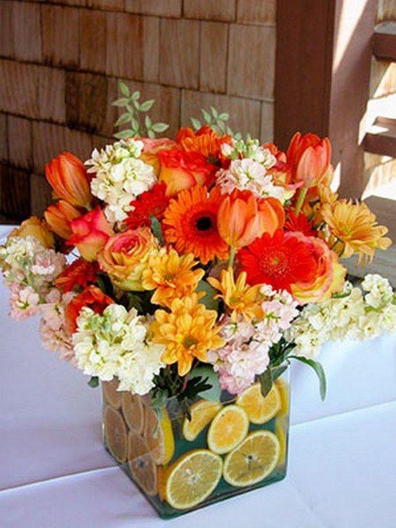 Best orange wedding flower arrangements ideas on
