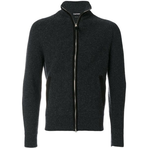 Tom Ford zipped cardigan ($2,363) ❤ liked on Polyvore featuring men's fashion, men's clothing, men's sweaters, grey, mens cardigan sweaters, mens gray sweater, mens grey sweater, mens zip cardigan sweater and mens zip sweater