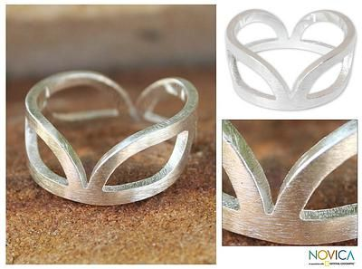 Sterling silver band ring - Melody | NOVICA