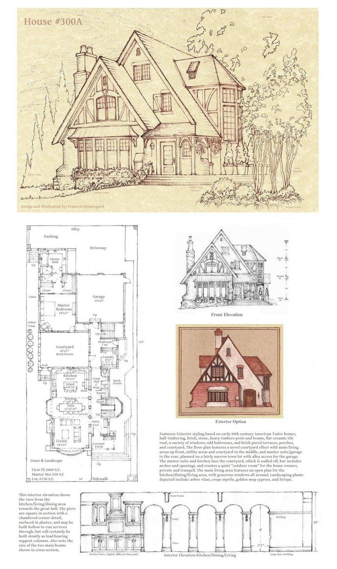 Modified version of House #300. This one is a courtyard design with master suite in back. Also note new format for perspective sketch includes a nice background tone and, if you look closely, the l...