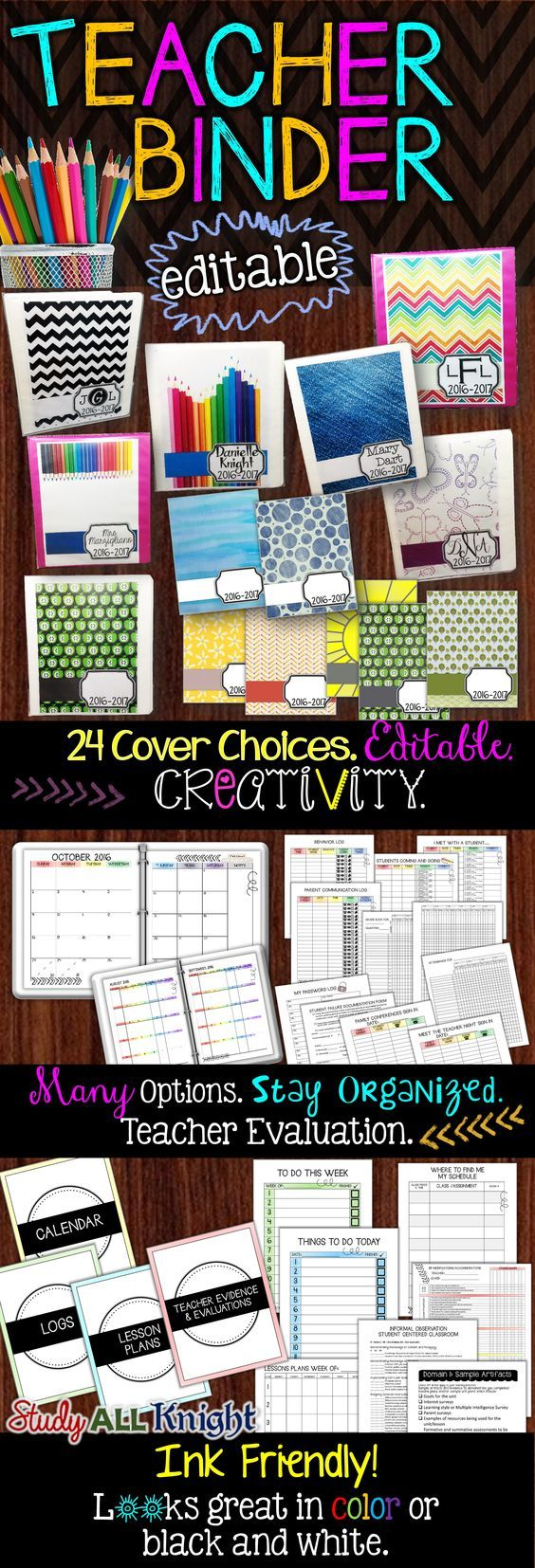 Teacher Binder Easy to Edit and Ink Friendly ($)