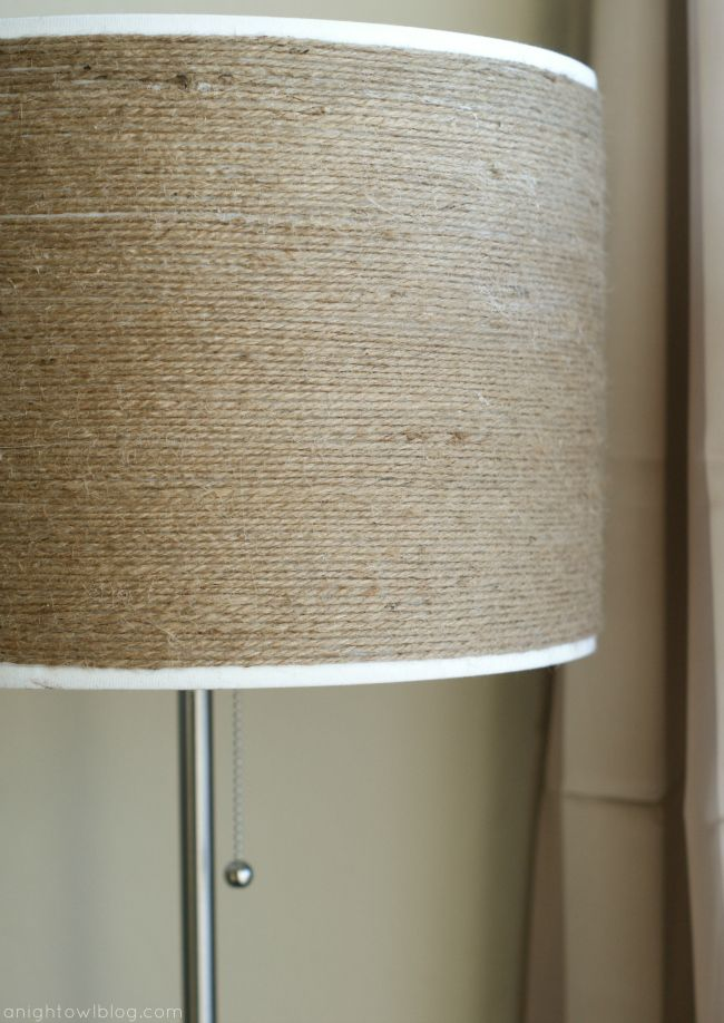 DIY Twine-Wrapped Lampshade - this would totally fit my upcoming bedroom deco!