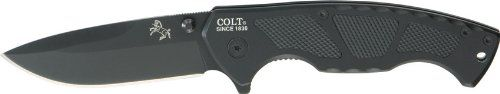 Colt Tactical Linerlock Knife, Black. Made using the highest quality materials. Tested to ensure quality and durability. The most trusted name in outdoor gear. Front handle has sure grip checkered inlays.