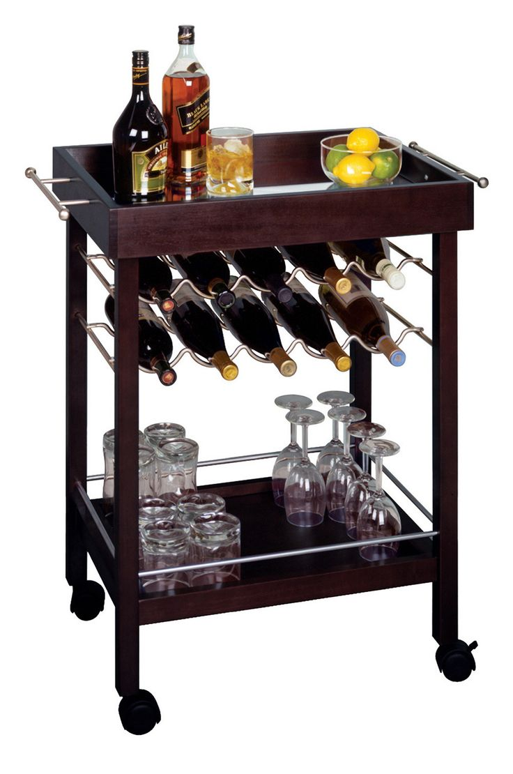 Awesome Espresso Wine Cart With Mirrored Top Winsome Wood Bar Carts Bars U0026 Bar Sets  Game Room Great Pictures