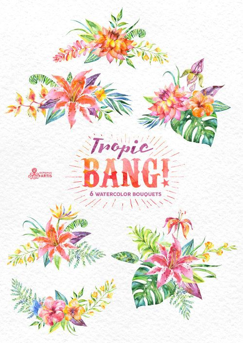 Tropic Bang Bouquets: 6 Watercolor Bouquets, lily, hibiscus, orchids, wedding…