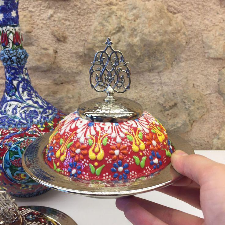 UNIQUE COPPER / TURKISH CERAMIC SUGAR BOWL