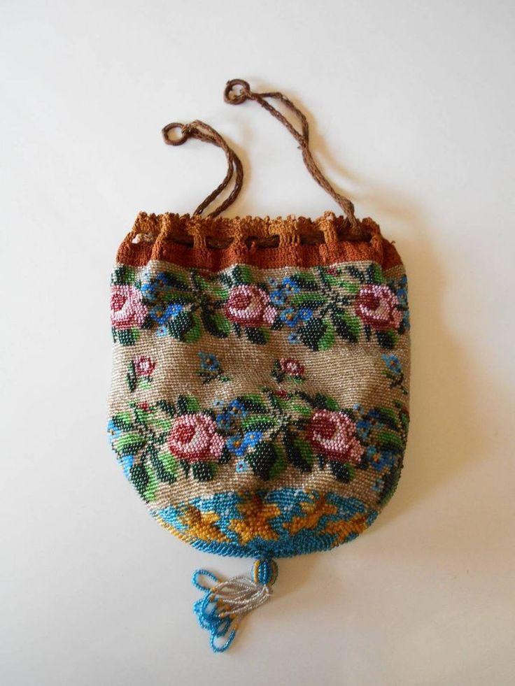 antique victorian crochet glass beaded floral drawstring HANDBAG purse #Handmade #Drawstring