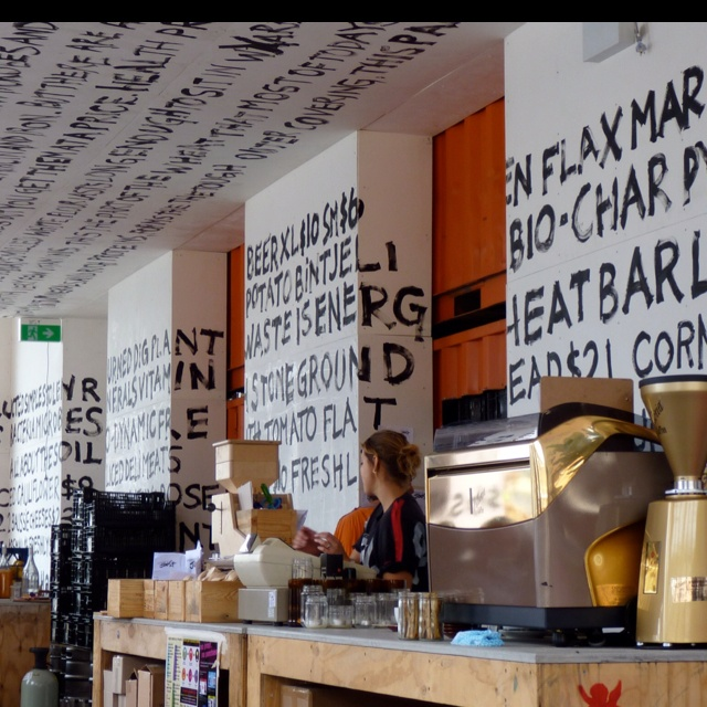 Pop-up cafe – Greenhouse by Joost @ Circular Quay, Sydney, great wall painting, signage, typograhy, font, unique idea
