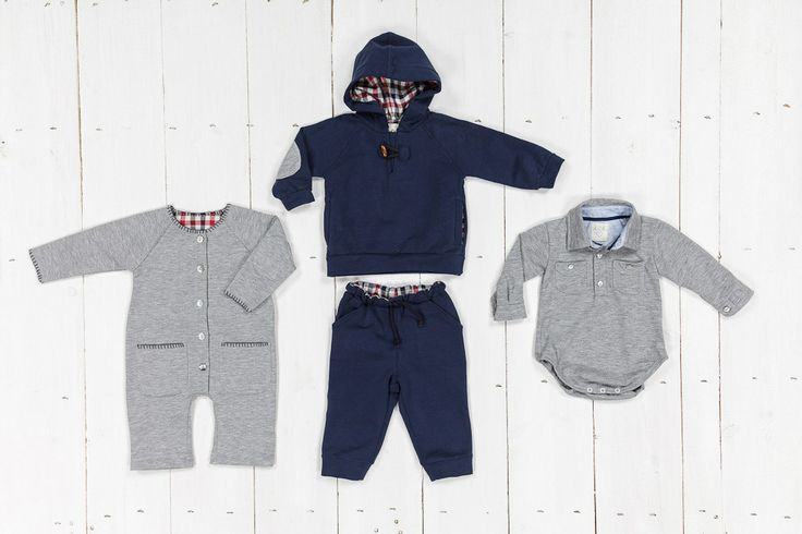 Fleece grey and blu for little boys, body jersey shirt
