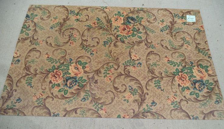 Vintage Linoleum Floral Cottage Rose 39 X60 Shabby Chic
