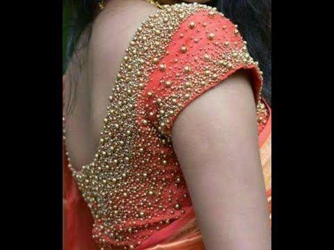 Gold Zari & Stone Work Blouse Designs For Silk Sarees - YouTube