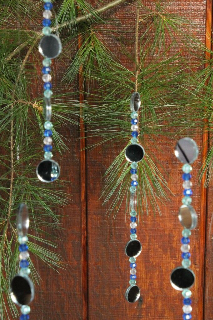 bead and mirror chain for sukkah- boys loved it!