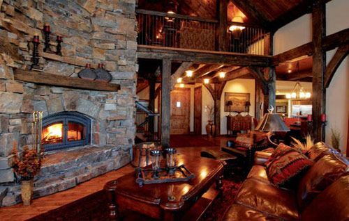 Rustic interior decor.Dreams Home, Servings Dishes, Dreams Cabin, Rustic Interiors, Fireplaces, Interiors Design, Dreams House, Living Room, Families Room