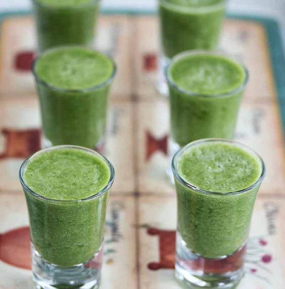 A Beginner Green Tea Smoothie - a great way to introduce greens into smoothies - I served this to my kids in shot glasses and it worked (used decaf green tea for the kids)!