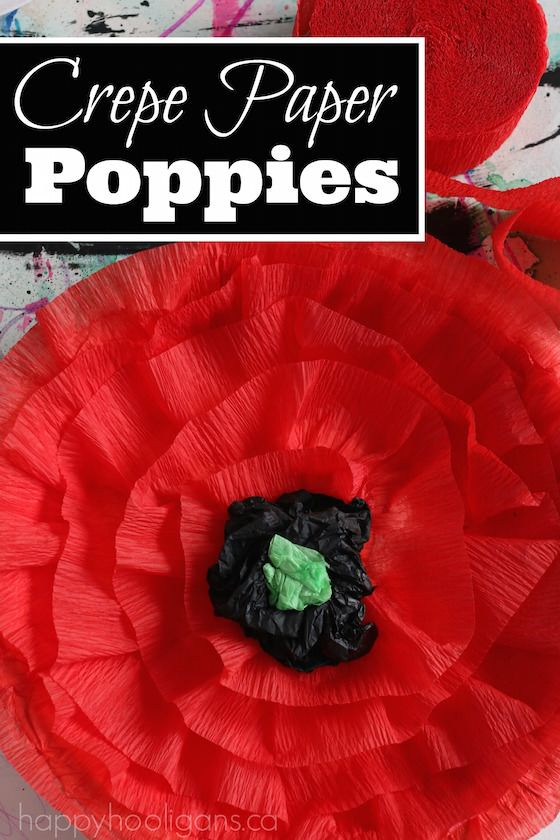 Crepe Paper Poppy Craft for Kids to Make for Remembrance Day, Veterans Day or Anzac Day.  This post contains 2 versions: a poppy for school-aged kids to make, and a poppy for toddlers and preschoolers to make. - Happy Hooligans