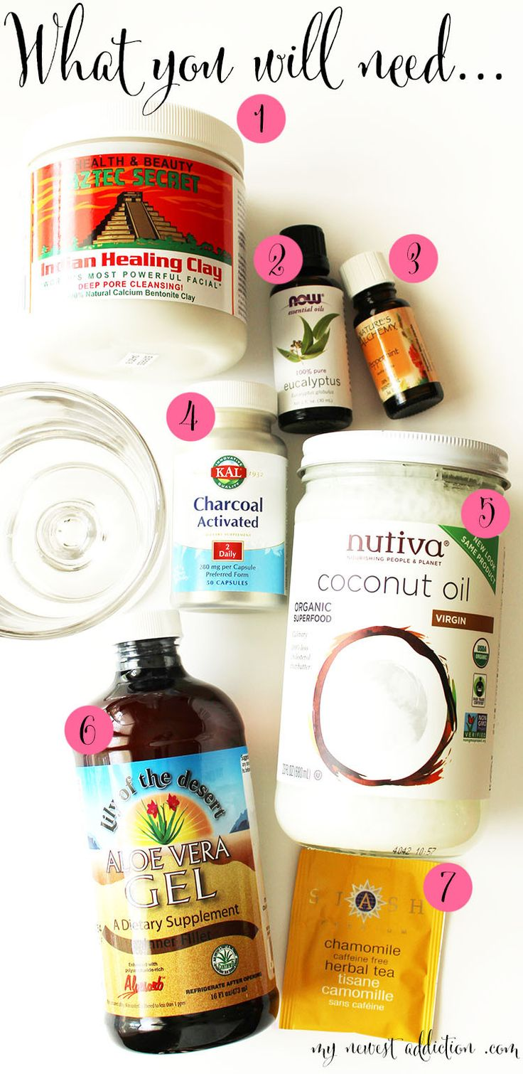 PUT ALL THIS CRAP ON YOUR FACE TODAY! DIY Glamglow Inspired Mask - My Newest Addiction Beauty Blog. 1/4 cup Aztec Secret Bentonite Clay, 1-2 drops of Eucalyptus Essential Oil (depending on your sensitivity), 1-2 drops of Peppermint Essential Oil  (depending on your sensitivity), 6-9 Charcoal capsules, 1 TB Virgin Coconut Oil, 1 TB Aloe Vera Gel, 1-2 fl oz Chamomile Tea
