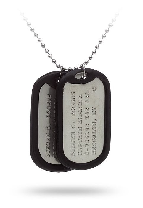 A pair of military-style dog tags to make sure that when someone discovers you in suspended animation deep under ice in the Arctic, they'll know that they've finally found the real Captain America. And hopefully they'll thaw you out.