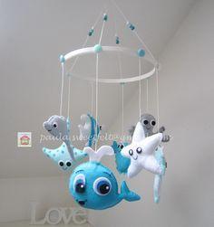 Mobile Animaux de la Mer en bleu personalisable : Jeux, peluches, doudous par sweetfelt