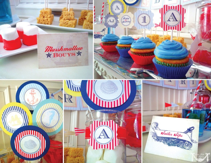 Nautical Party, Sailor Party - PRINTABLE BLANK TREAT Labels - Cutie Putti Paperie. $7.50, via Etsy.