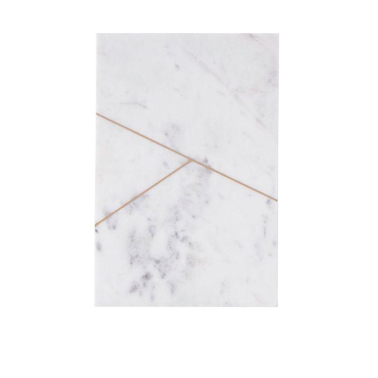 Plat rectangle en marbre blanc Y - House Doctor