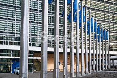Flags in front of the European Commission, Brussels Royalty Free Stock Photo