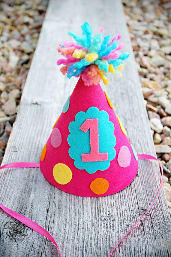 Girls Felt Polka-dot Party Hat - Birthday Number Party Hat