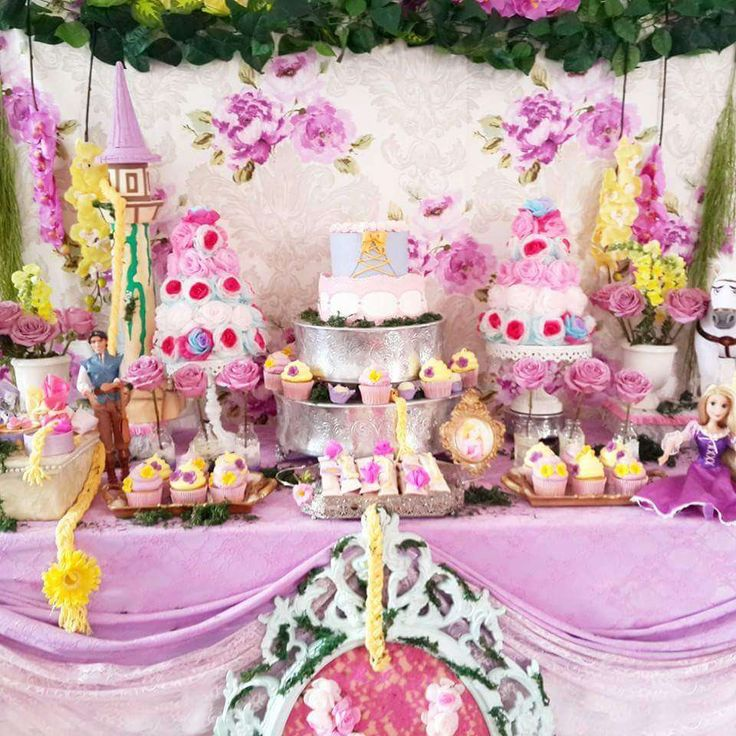 Gorgeous dessert table at a Rapunzel birthday party! See more party planning ideas at CatchMyParty.com!