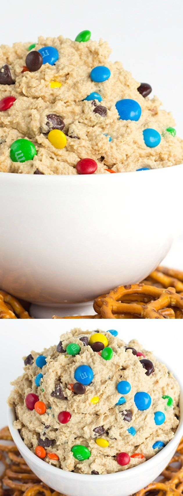 This Monster Cookie Dough Dip from Cookie Dough and Oven Mitt is the best treat ever. It's loaded with peanut butter, oatmeal, candies, and chocolate chips!