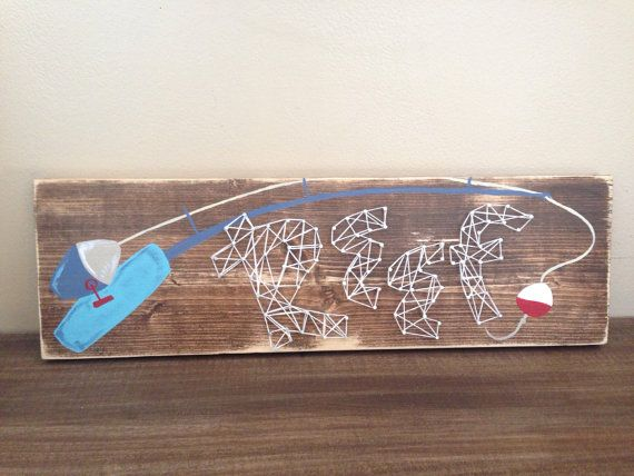 Custom fishing pole name string art sign