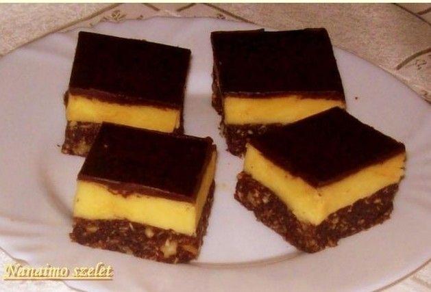 Hozzávalók: Az alsó réteghez: 15 dkg vaj 7,5 dkg cukor 5 evőkanál kakaópor 2 db tojás 35 dkg darált keksz 10 dkg durvára vágott dió vagy mogyoró 15 dkg kók