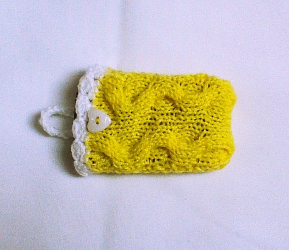 Yellow knit cell phone case cell phone cozy phone by HandmadeTrend, $14.00