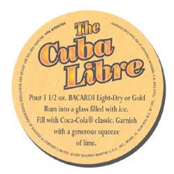 Cuba Libre recipe from back of the Bacardi coaster.