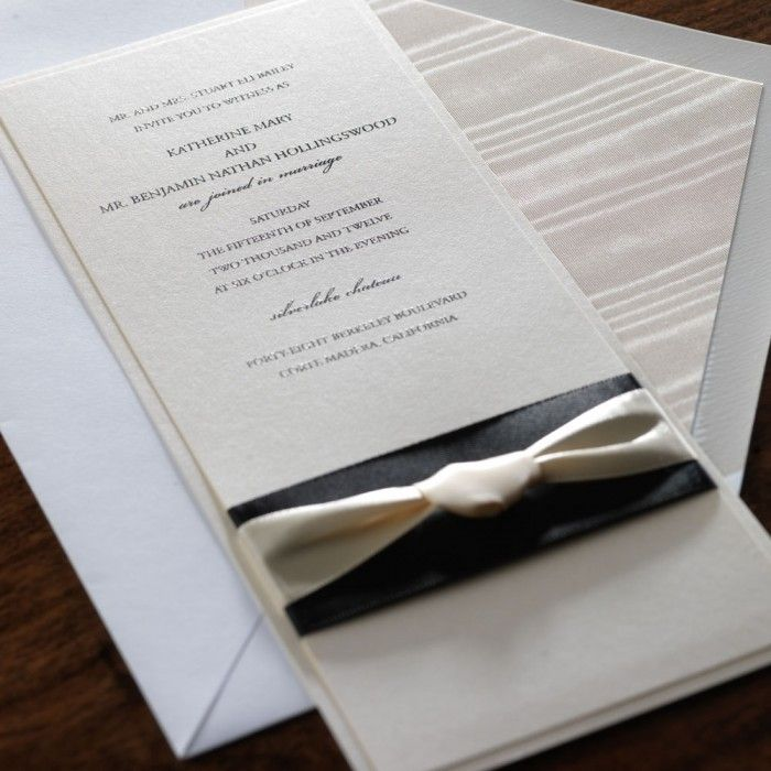 wedding invitation tied with ribbon%0A Suited for the most refined bride  this two layer wedding invitation exudes  elegance with the addition of not one  but two luxurious ribbons