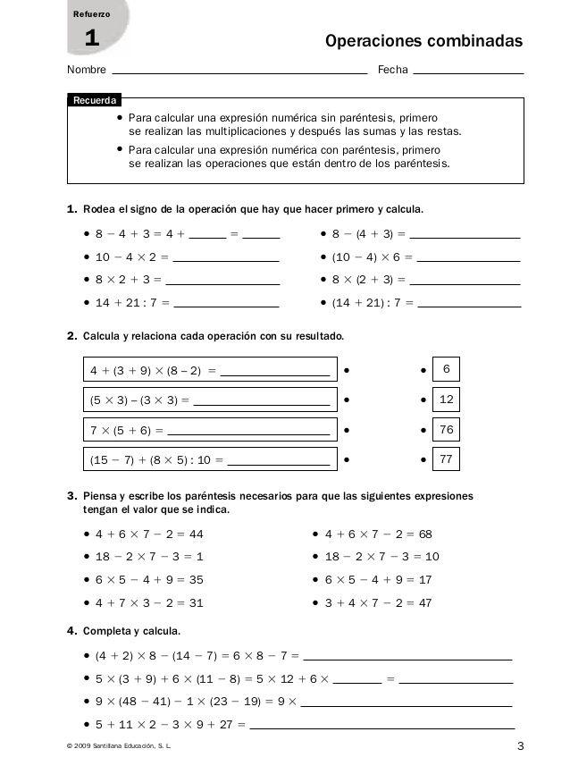 3© 2009 Santillana Educación, S. L. Refuerzo 1 Nombre Fecha ...