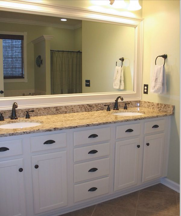 Bathroom White Cabinets Framed Mirror Master Bathroom