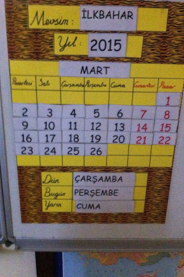 İşlenebilir sınıf takvimi #takvim #sınıf #ay #yıl #gün #calendar