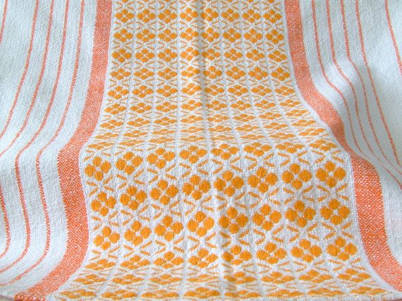 60s / 70s Scandinavian tablecloth orange by thelittleblackhouse
