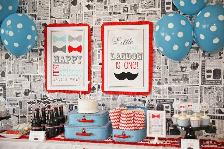 Little Man Bowtie Mustache Bash Printable Birthday Party Collection by Petite Party Studio. $59.00, via Etsy.
