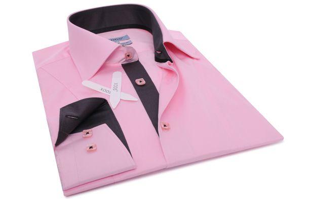 Chemise homme Replica rose doublure gris anthracite galon noir, Chemises cintrées - Chemise Homme