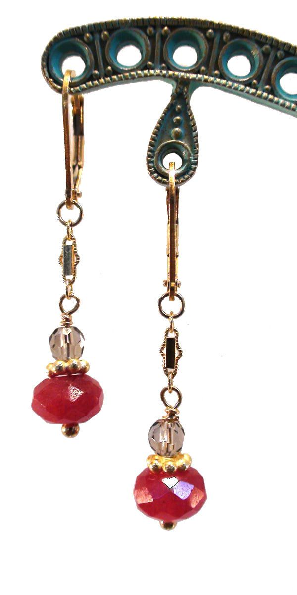 Red Jade and Smoky Topaz Earrings