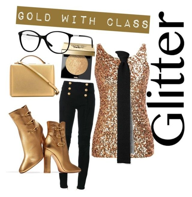 """""""Glitter - Gold With Class"""" by inauniqe on Polyvore featuring beauty, Mark Cross, Balmain, Gianvito Rossi, Bobbi Brown Cosmetics and Burberry"""