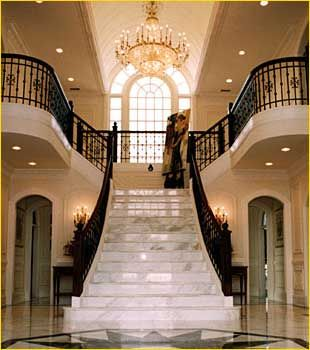 Love the idea of a free standing center staircase. I would want a half bath underneath.