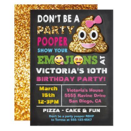 #Gold Glitter Emoji Party Pooper Girl Birthay Card - #birthday #invitations