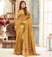 Golden Color Tusser Silk Festival & Party Wear Sarees : Pranali Collection  YF-40689