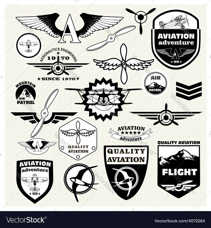 Monochrome Mega Set of retro emblems, design elements , badges and logo patches on the theme aviation. Download a Free Preview or High Quality Adobe Illustrator Ai, EPS, PDF and High Resolution JPEG versions.