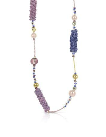 Antica Murrina India Divinity – Sautoir en verre de Murano - Antica Murrina Sautoir en perles roses, pourpres réalisées avec de la feuille d'argent et d'or alternant avec des perles multicolores. Chaque pièce est unique, les formes et les couleurs peuvent