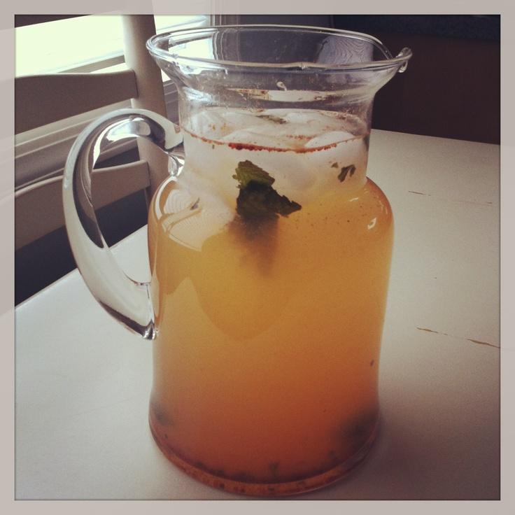 Refreshing detox water Fresh lemon lime mint Apple cider